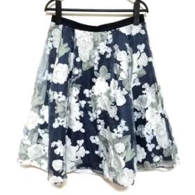【中古】 ジャスグリッティー スカート サイズ2 M レディース 美品 ネイビー アイボリー マルチ 花柄