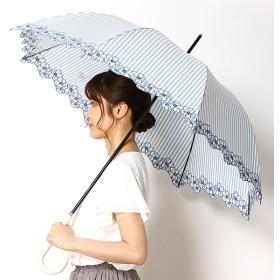 [マルイ] 雨傘(長傘)【手開き/グラス骨/安全ロクロ】ストライプすそ花刺繍(レディース)/PAUL & JOE ACCESSOIRES(ポール&ジョー アクセソワ)