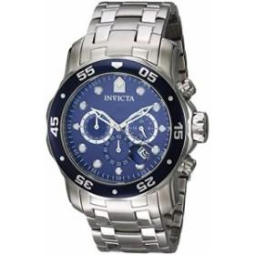 インヴィクタ男性の0070個のプロダイバーコレクションアナログ中国人クオーツChronograh銀トーン/青のステンレス鋼時計
