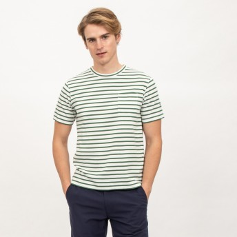 AIGLE メンズ メンズ 吸水速乾 コットンストライプ 半袖Tシャツ ZTH039J MALACHITE (160) Tシャツ