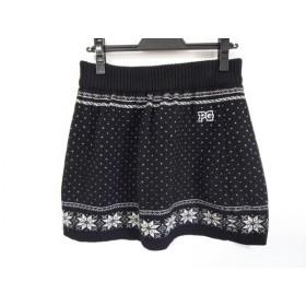 【中古】 パーリーゲイツ PEARLY GATES ミニスカート サイズ0 XS レディース 黒 白 ニット
