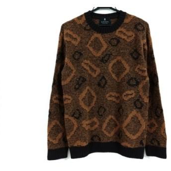 【中古】 ランバンコレクション 長袖セーター サイズ48 L メンズ ライトブラウン ダークブラウン
