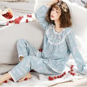 パジャマ上下セットレディース前開き綿パジャマ春夏ネグリジェ長袖韓國風可愛いパジャマゆるゆる寢巻き