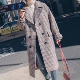 ダブルブレスト 通勤 カジュアル コート 韓國 アウター 千鳥格子 ロング丈 ストレート オフィス キャンパス