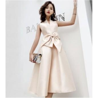 ドレス パーティードレス お呼ばれドレス 結婚式 お呼ばれ ミモレ丈 ワンピース 大きいサイズ 袖なし 20代 30代 リボン フレア 3031