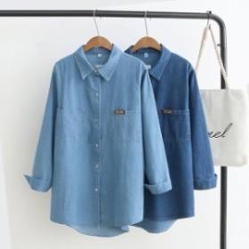 ビッグサイズ デニムシャツ 韓國 スナップボタン オルチャン