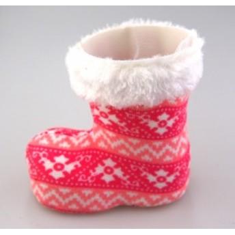 ファブリッククリスマスブーツMサイズ ピンク 【クリスマス雑貨/クリスマス小物入れ】