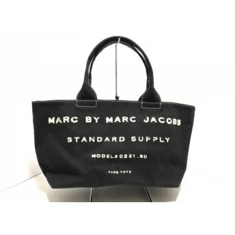 【中古】 マークバイマークジェイコブス MARC BY MARC JACOBS トートバッグ - 黒 アイボリー キャンバス