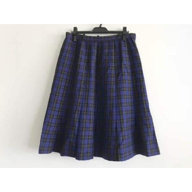 【中古】 レリアン ロングスカート サイズ15+ L レディース ブルー 黒 ライトブラウン チェック柄