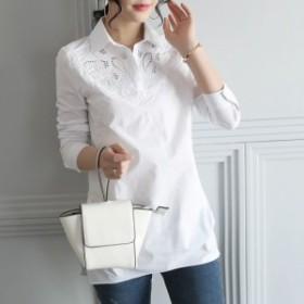 通學 刺繍 きれいめ 長袖 白 通勤 シャツ