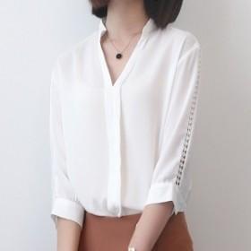 スキッパーシャツ OL オフィス シャツ 7分袖