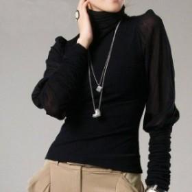 秋冬新作 韓國 大きいサイズ 黒 エレガント S~5XL ガーゼ 薄手 長袖 使えるインナー パフスリーブ タートルネックカット