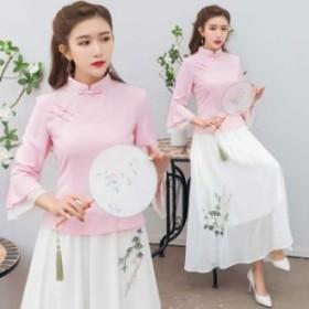 チャイナ風服 セットアップ チャイナドレス 唐装 漢服 トップス 七分袖 スカート 大きいサイズ M L LL 3L 4L ブルー ピンク ブラック
