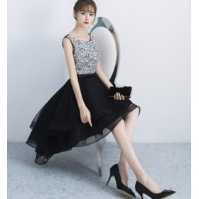 膝上丈フィッシュテールドレススパンコール結婚式ドレスお呼ばれワンピース20代30代40代秋冬新作エレガントアシメ