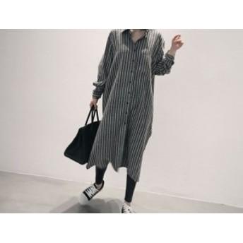 秋冬新作大きいサイズビッグシャツレディースグレー長袖裾スリットストライプシャツワンピース