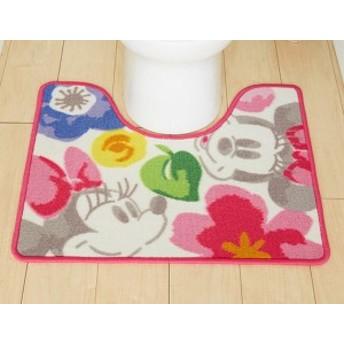 ミニー 花柄 トイレマット 標準サイズ 55x65cm リビング ラグ かわいい マット 子供 ディズニー 子供部屋 お花(代引不可)