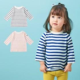 【ベビー】【Ampersand】デイリーボーダー7分袖Tシャツ【赤ちゃん ベビー服 男の子 女の子】