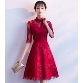 お呼ばれドレス結婚式華やかレッドフィット&フレアワンピース20代30代40代レースエレガントひざ上丈上品おしゃれ