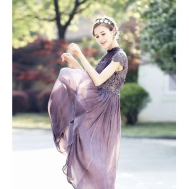 パーティードレス結婚式二次會お呼ばれワンピース20代30代40代レース刺繍ロング丈ロングドレスワンピースドレス