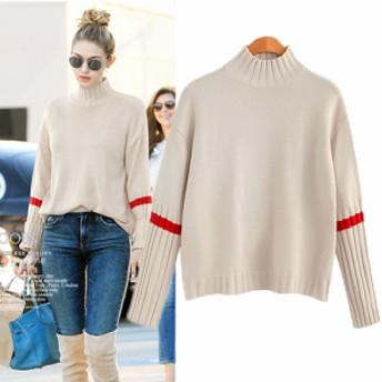 袖のラインが可愛い タートルネック セーター ニット 長袖 カジュアル 1389