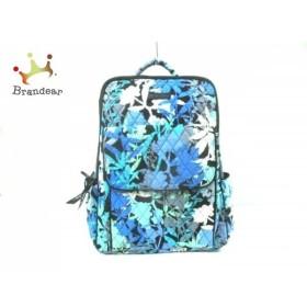 ベラブラッドリー リュックサック 黒×ライトブルー×マルチ キルティング/花柄 コットン   スペシャル特価 20190625