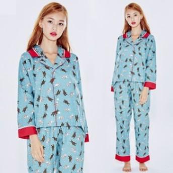 部屋著 パジャマ ルームウェア 上下セット 前開き レディース ルームウェア 寢巻き 長袖 シャツパジャマパジャマ S445