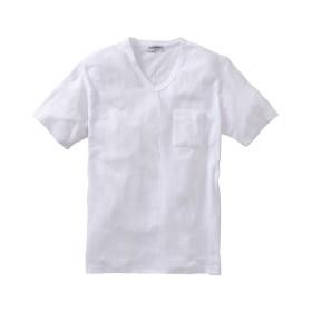 Louis Chavlon(ルイシャブロン) 吸汗速乾ポケット付格子柄ジャガードVネック半袖Tシャツ Tシャツ・カットソー