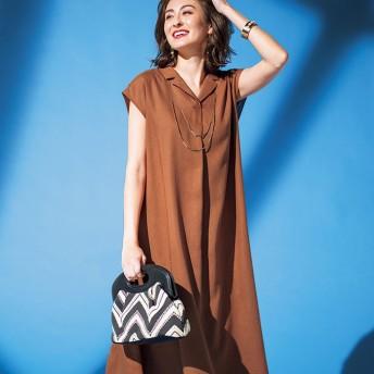 BELLUNA ベルーナ レーヨン麻素材開衿デザインワンピース レディース