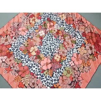 【中古】 ルイヴィトン LOUIS VUITTON スカーフ 美品 オレンジ ピンク マルチ 花柄/豹柄