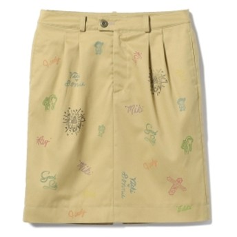 fennica <WOMEN>les Briqu'a braque × fennica / 別注 スタンプ スカート レディース ミニスカート BEIGE×STAMP ONE SIZE