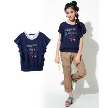重ね着風バタフライバルーンTシャツ(女の子 子供服 ジュニア服) Tシャツ・カットソー
