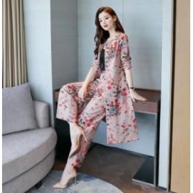 花柄フラワーセットアップパンツドレスパーティードレスドレス長袖袖ありレディーススーツ結婚式二次會お呼ばれ20代30代