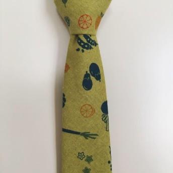 新・野菜柄ネクタイ(グリーン)《ハンドクラフトネクタイ》