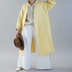 【wafu】中厚 リネン コート 織 ノーカラー ドロップショルダー ガウン / ジョーヌパイユ h022a-jpy2
