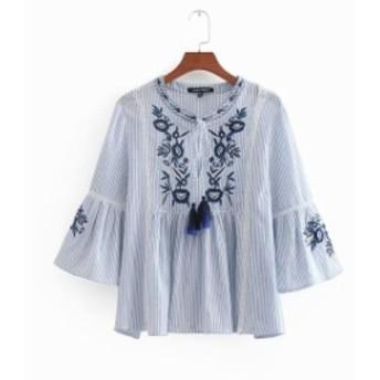 レディースSMLタッセルリボン刺繍ストライプブラウス袖フレアブルートップス チュニック