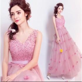 Vネック ノースリーブ 披露宴 素敵 ブライダル ウェディングドレス 二次会  大きいサイズ 綺麗♪人気 可愛い パーティードレス  プリンセ