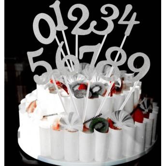 amleso ケーキトッパー 数字 ナンバー0-9 誕生日 記念日 クリスマス 料理飾り 約20本