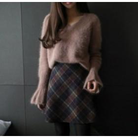 レディースVネックセーター大きいサイズおしゃれセーター長袖トップスゆるふわもこもこヘビロテ大人コーデ秋冬