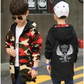 ウィンドブレーカー キッズ 男の子 両面著 迷彩アウター 子供服 ジップアップパーカー ジャケット ジャンパー 防風コート 秋新