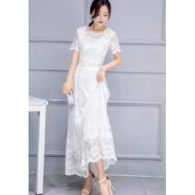 一度は著たい王道ドレス 半袖 マキシ丈 レース ワンピース ドレス パーティー、リゾートに◎ 620