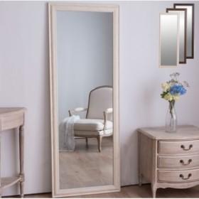 鏡 ミラー 全身 姿見 アンティーク調大型ミラーW60 ホワイト ブラウン ライトブラウン 幅60ビッグミラー 全身鏡 壁掛け(代引不可)【送料