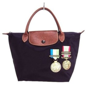 【中古】 ロンシャン LONGCHAMP ハンドバッグ パープル ダークブラウン マルチ メダル/JEREMY SCOTT
