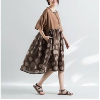 大きいサイズ ドレス ワンピース チュニックワンピ レトロ お出かけ リネン 体型カバー カジュアル 春夏 フレア ラウンドネッ