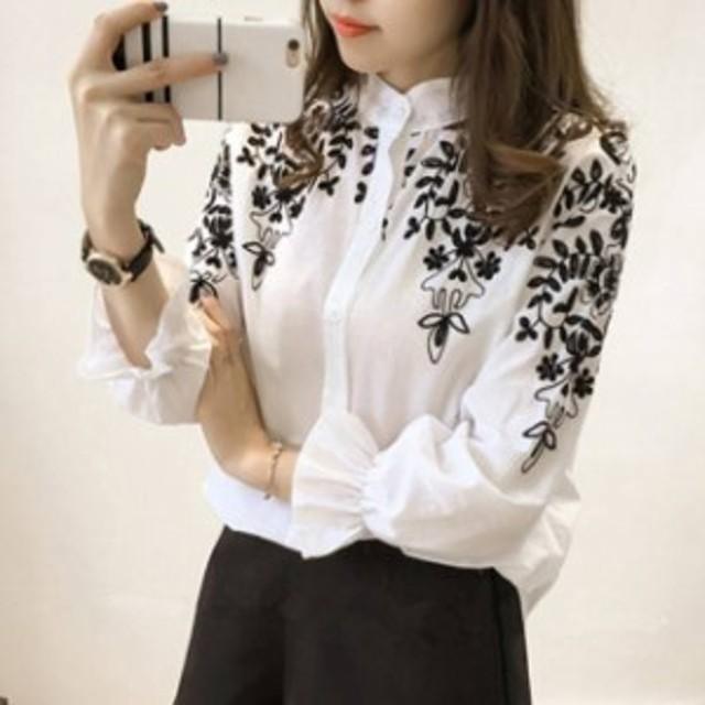 長袖 新作&人気のお品 フラワー刺繍ブラウス オルチャン シャツ ダンガリーシャツモノトーン 韓國