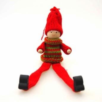 木製あしながぱっつんスノーガールオーナメント【クリスマス装飾/クリスマス雑貨】