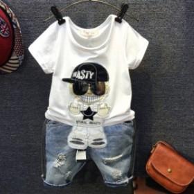 子供服 半袖Tシャツ 男の子 半ズボン デニムパンツ 上下セット メガネ 夏新作 キッズ ジュニア 韓国子供服 ヒップホップ