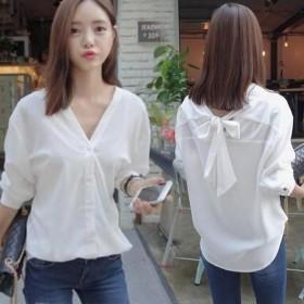 レディース ブラウス Vネック シャツ リボンが 長袖 2WAYS ホワイト M/L/XL 韓国ファッション