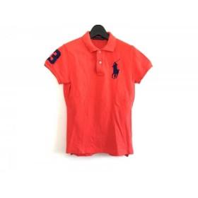 【中古】 ラルフローレン RalphLauren 半袖ポロシャツ レディース ビッグポニー オレンジ ネイビー