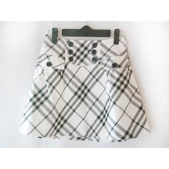 【中古】 バーバリーブルーレーベル ミニスカート サイズ36 S レディース 白 黒 アイボリー チェック柄