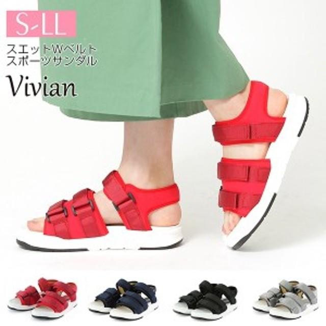 ヴィヴィアン(Vivian)/[19春夏新作] スエットWベルトスポーツサンダル